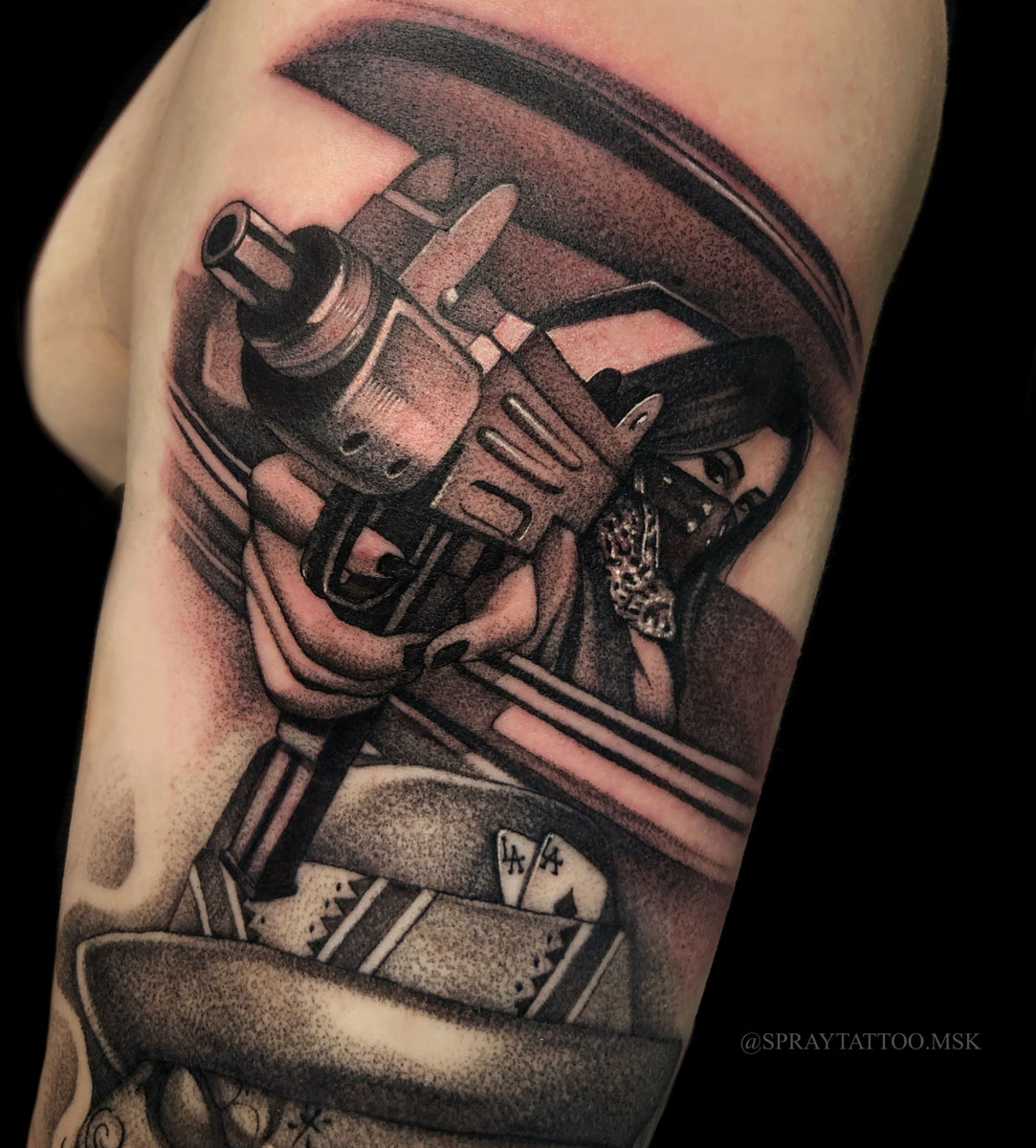 Spray Gun Tattoo